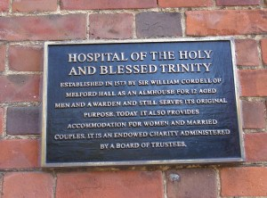 Plaque at Cordell's Hospital, Long Melford