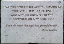 Marlowe plaque