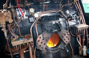 Cab of steam loco