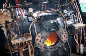 Cab of steam loco